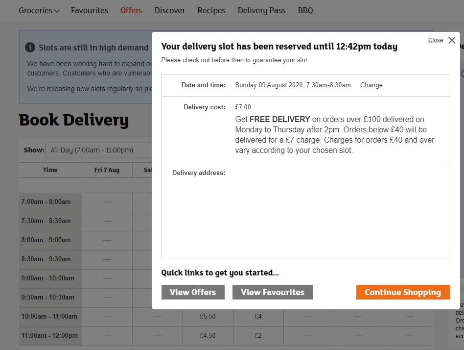 Sainsbury delivery fees not transparent into the delivery slots table